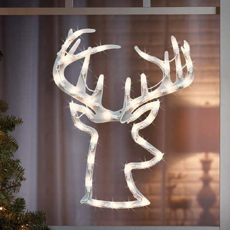 "B-THERE Christmas Deer Lighted Stag Buck Head with Antlers 14"" x 17"" Decoration Light, Indoor Outdoor"