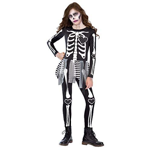Amscan Girls Punky Skeleton Costume - Medium (8-10) Black