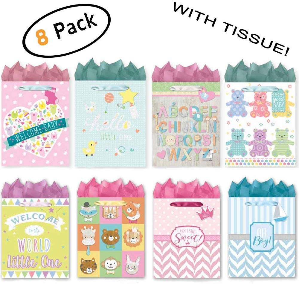 Pack of 8 Medium Baby Shower Gift Bags. Assortment of Foil and Glitter Embellishments Girl Boy Unisex