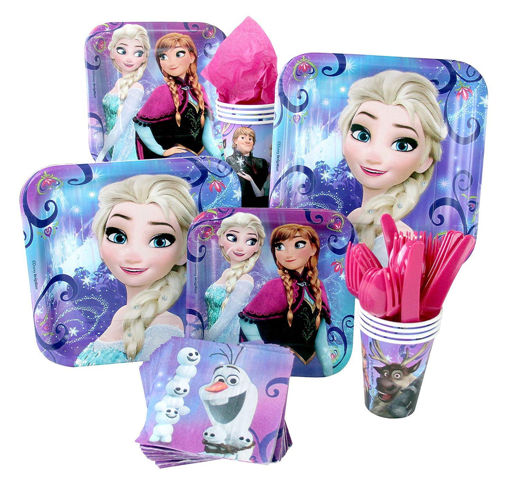 Frozen Party Pack Seats 8 - Cups, Napkins, Cake Plates & Lunch Plates - Party Supplies, Deluxe Party Pack