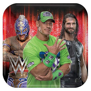 B-THERE WWE Party Pack for 8 Guests - 8 Dessert Plates and 20 Beverage Napkins John Cena, Ray Mysterio, Seth Rollins - Party Supplies