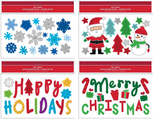 "B-THERE Bundle of Merry Christmas Holiday 11.5"" x 9"" Glitter Window Gel Clings, Snowman, Snowflakes, Santa Claus, Happy Holidays and Candy Canes"