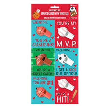 Load image into Gallery viewer, Party Favors, Sports Valentine Cards with Whistles, 12 Pc.