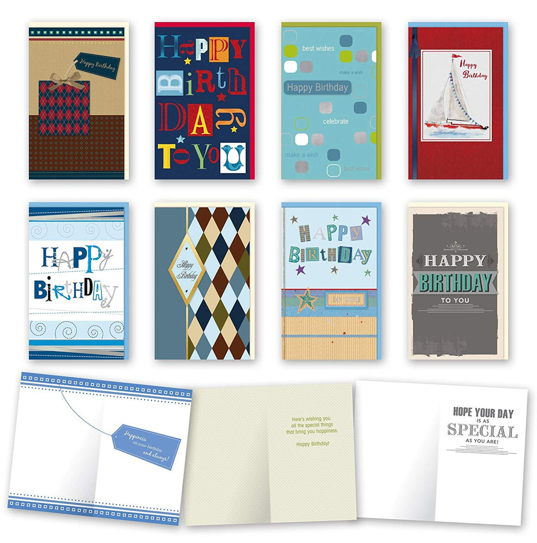 Assorted Male Birthday Cards Bulk Card Set of 8 Cards with Envelopes. Large Handmade Cards 5