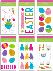Easter Window Gel Clings - Pack of 6 Sheets of Easter Window Sticker Decorations with Llama, Easter, Bunny, Eggs and More!