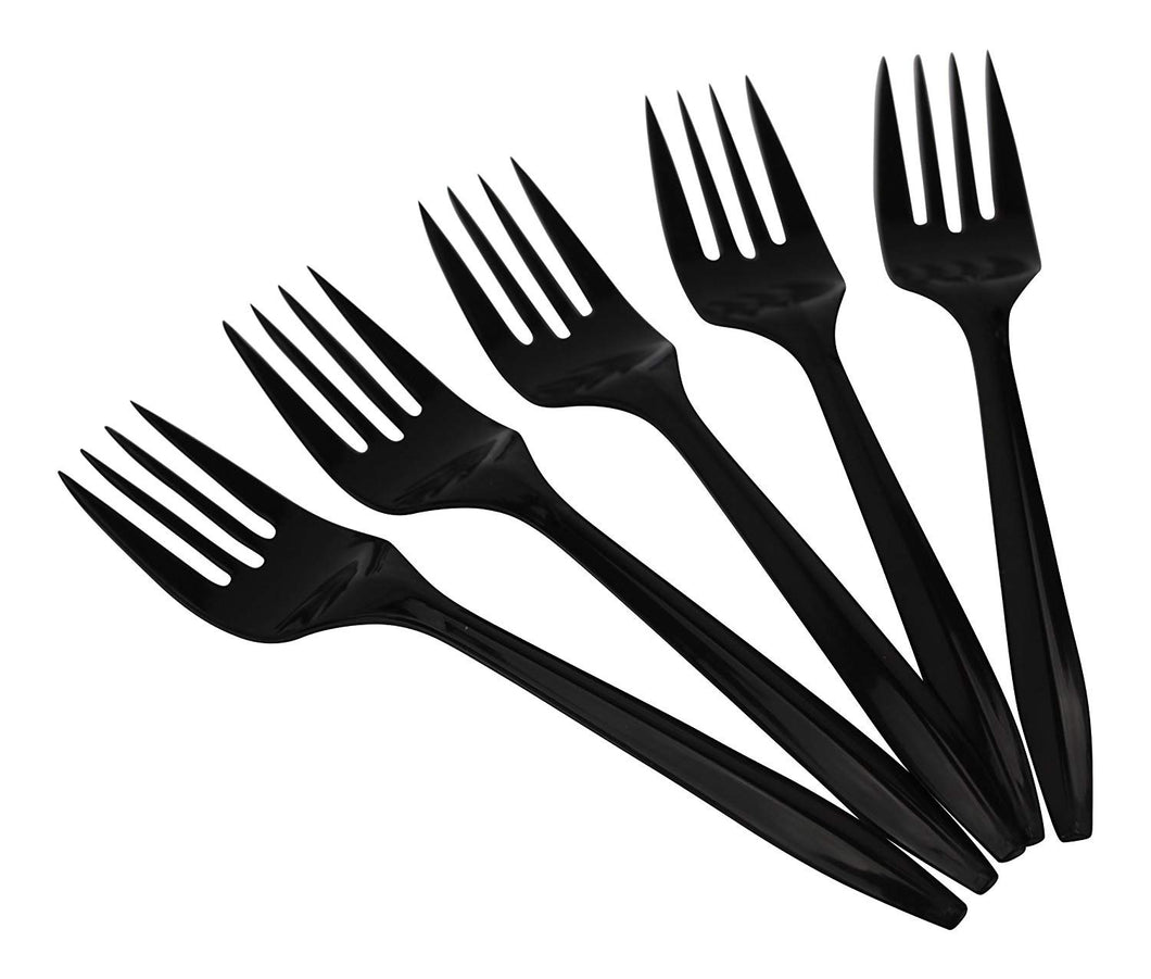 B-Kind Party Pack 100 Count Thick Strong and Durable Medium Weight Disposable Black Forks for Camping, Picnics, Parties, and Weddings