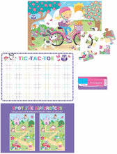 Load image into Gallery viewer, 2 Travel Activity Packs 1 Boys & 1 Girls Each Containing 1 Puzzle, 2 Activity Sheets and 4 Crayons. Tic-Tac-Toe, Jigsaw Puzzle, Word Search, Coloring, Dot to Dot, Spot the Difference & More