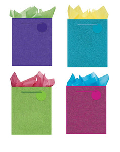 All Occasion Party Gift Bags - Set of 4 Large Glitter Gift Bags w/Tags & Tissue Paper