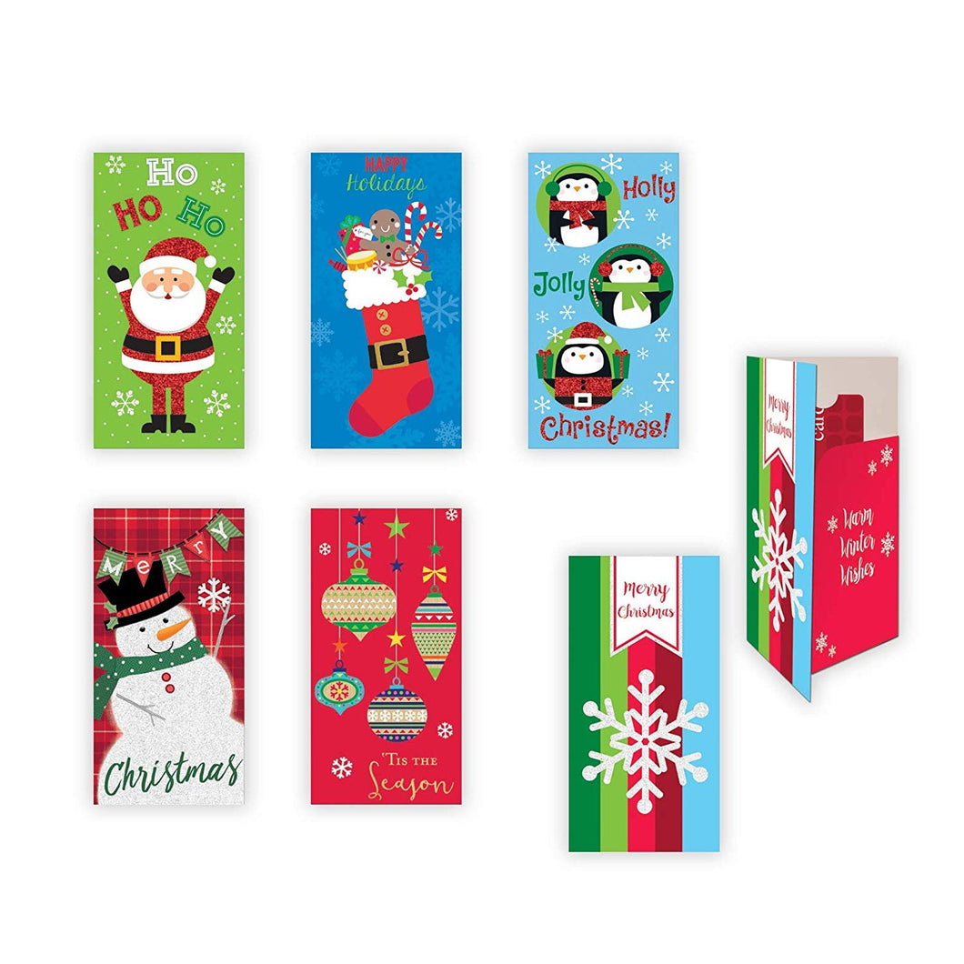 6 Assorted Embellished Gift Card Money Holder Cards, Set of 6 Cards for Christmas. Penguins, Santa, Snowman and Ornament Designs