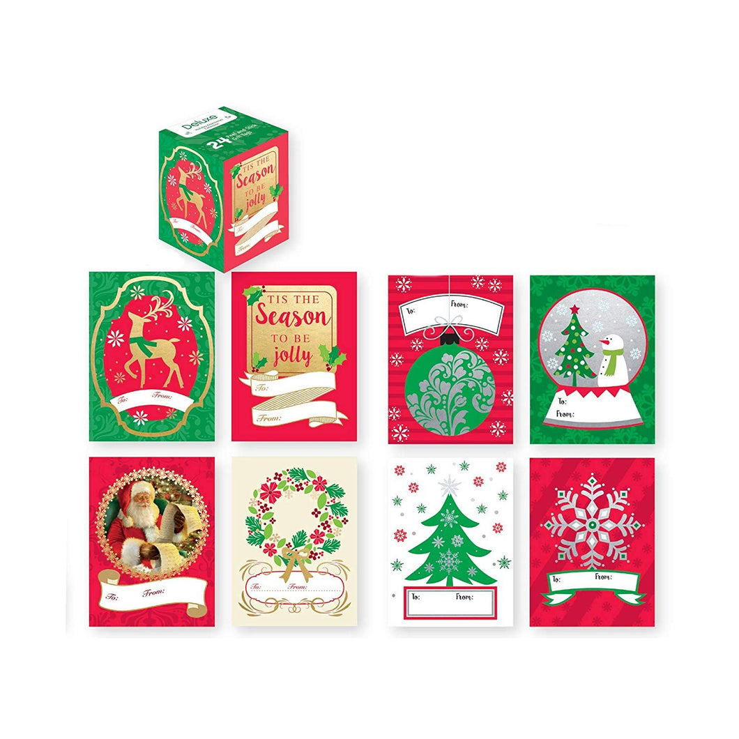 48 Self Adhesive Peel & Stick Christmas Gift Labels, Easy to Use Just Pull & Place 8 Different Designs