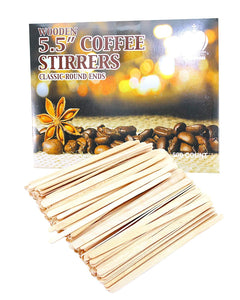 "Pack of 500 Wooden Round End Coffee Stirrers, 5.5"" Long, 6mm Wide, Wood Coffee, Tea Stirrers"