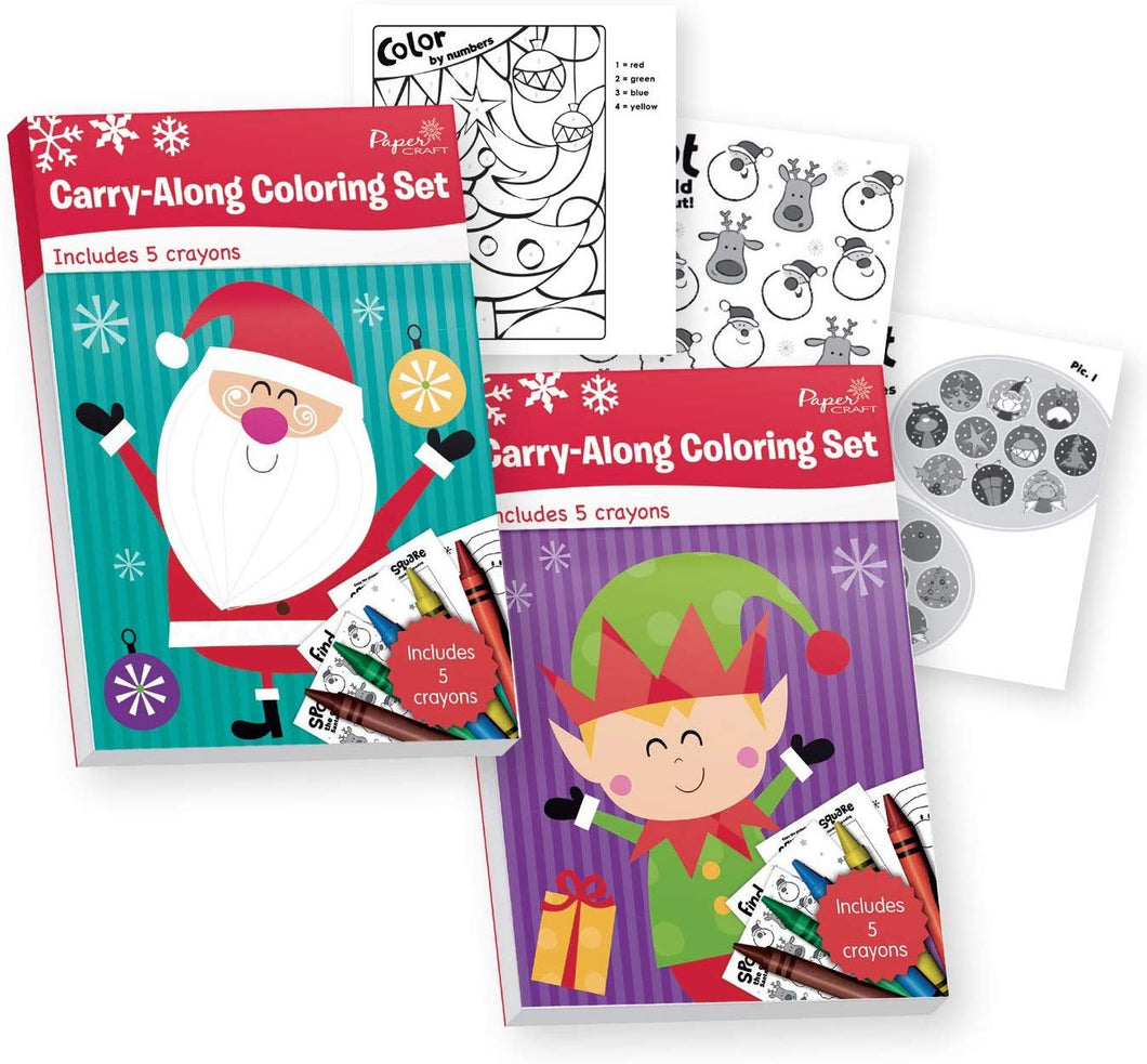 B-THERE Bundle of 2 Carry-Along Christmas Coloring Sets. Xmas Coloring Books - Includes Crayons