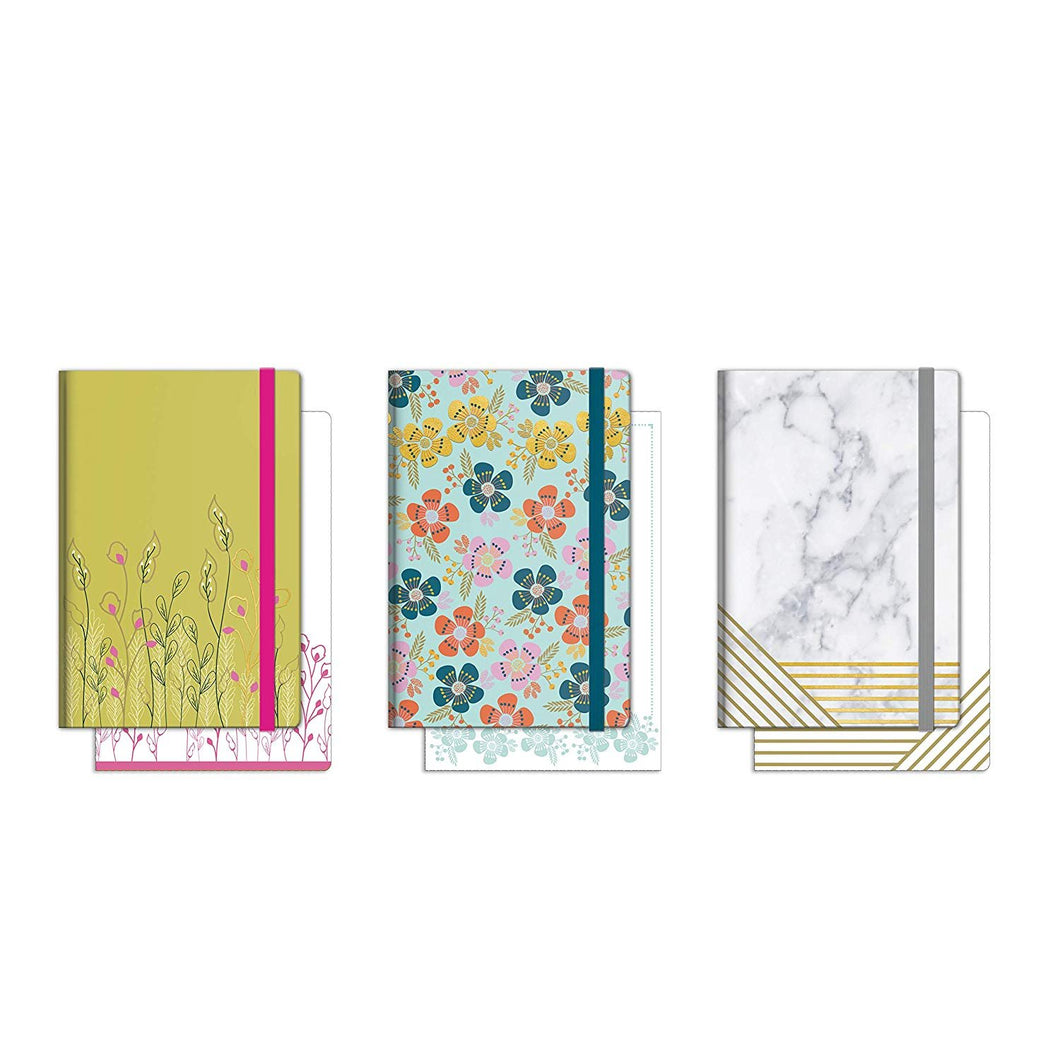 B-THERE Bundle of Pocket Notebooks with Elastic Closures - 3 Different Designs - 3.5
