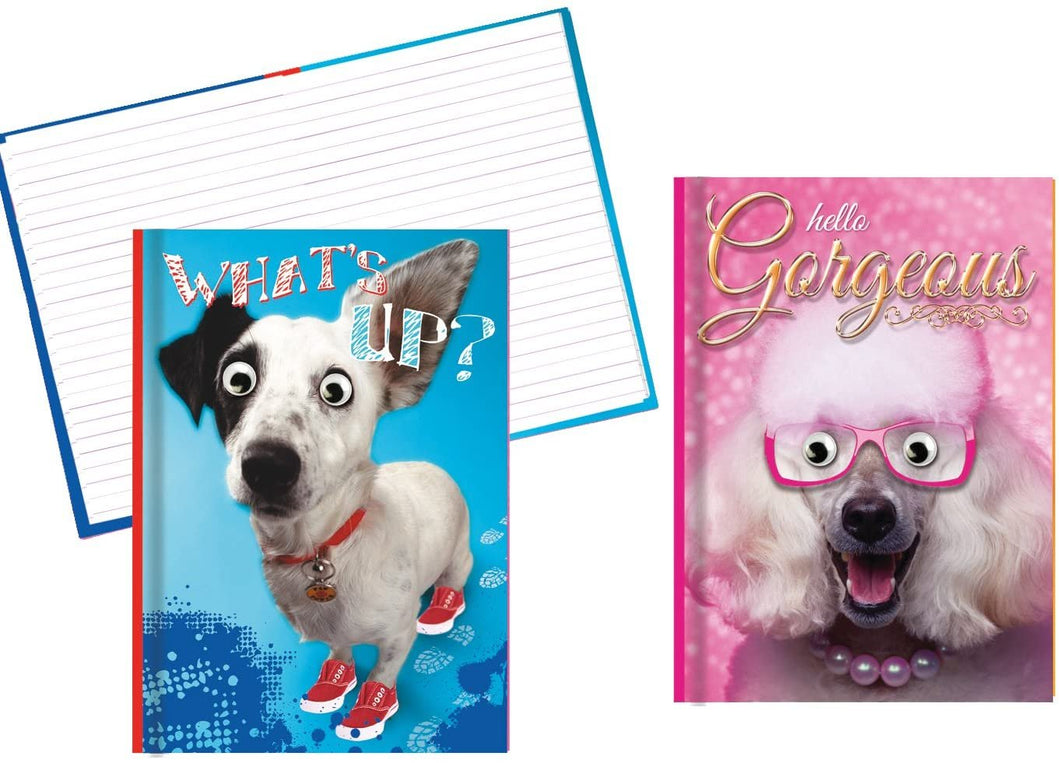 Hardback Notebook Set, Covers Feature a Funny Dog with Googly Eyes - 8.25