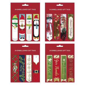 B-THERE Bundle of 96 Embellished Christmas Gifting Tags, Holiday Gift Tags Gifting Supplies