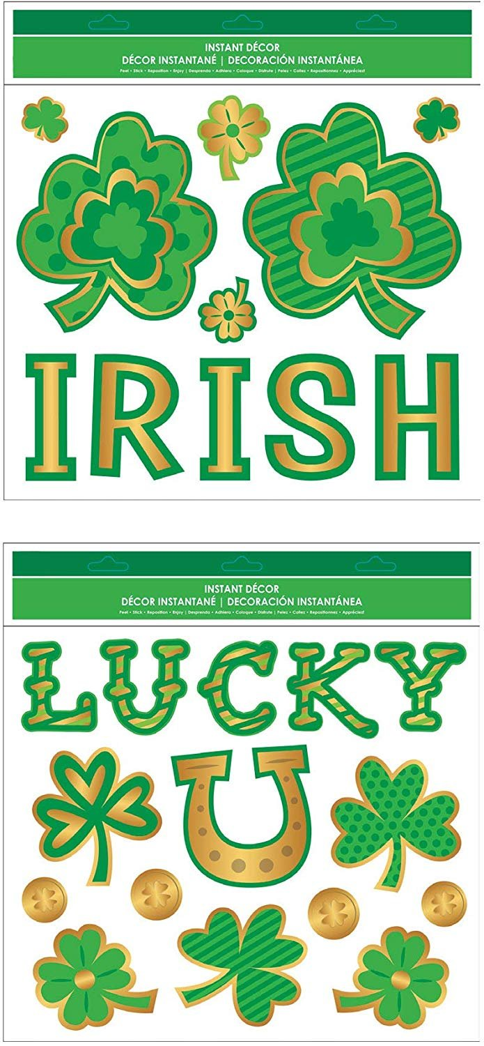 "B-THERE Bundle of St. Patrick's Day Embossed Wall Art Decal Stickers 10"" x 12"" with Shamrocks, Clovers, Lucky U, Irish, Pot of Gold Gels."