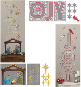 "B-THERE Bundle Christmas Self-Adhesive Foil Wall Art Decals 23"" x 19"" of Nativity Manger Scene and Joy to The World, Bethlehem's Star for Walls, Glass, Mirrors"