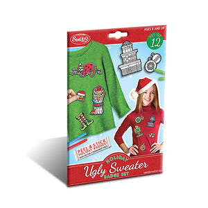 B-THERE Pack of 3 Holiday Ugly Sweater Badge Set. Color-in and Stick on for an Instant Ugly Holiday Sweater for Ages 8+