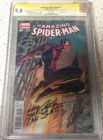 Amazing Spider-man 1 Adams Variant CGC 9.8 Signed by Stan Lee, Dan Slott, & Neal Adams