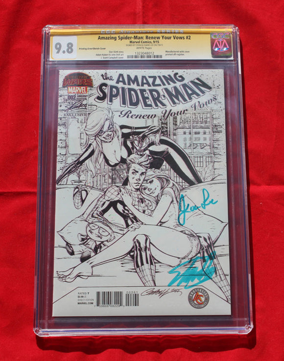 Amazing Spider-man Renew Your Vows #2  SDCC Variant Sketch ERROR CGC 9.8 Signed by Stan Lee & wife!!