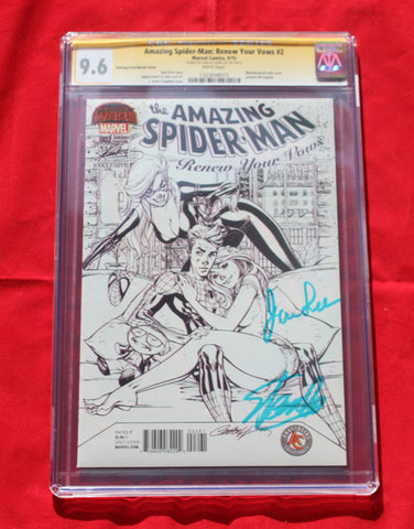 Amazing Spider-man Renew Your Vows #2  SDCC Variant Sketch ERROR CGC 9.6 Signed by Stan Lee & wife!!
