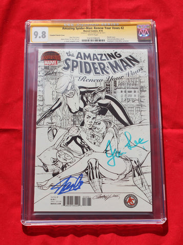 Amazing Spider-man Renew Your Vows #2  SDCC Variant Sketch CGC 9.8 Signed by Stan Lee & wife!!