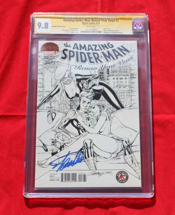 Amazing Spider-man Renew Your Vows #2  SDCC Variant Sketch CGC 9.8 Signed by Stan Lee