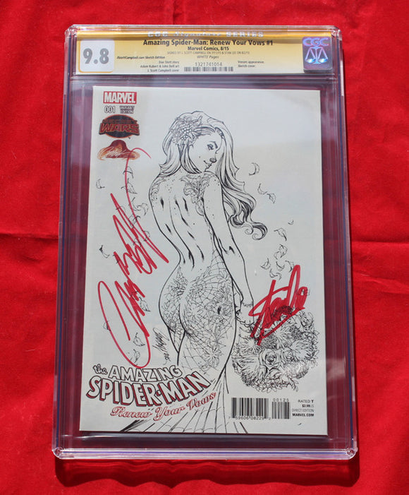Amazing Spider-man Renew Your Vows #1 Sketch Variant CGC 9.8 Signed by Stan Lee & Campbell