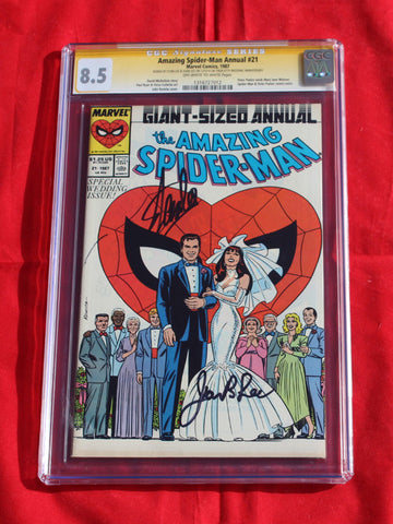 Amazing Spider-man Annual #21 CGC 8.5 Signed by Stan Lee & wife!!