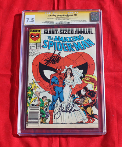 Amazing Spider-man Annual #21 CGC 7.5 Signed by Stan Lee & wife!!