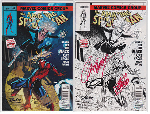 Amazing Spider-man #8 Comikaze Variant Set Double Signed Stan Lee & Campbell