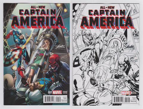 All New Captain America #1  Colored/Sketch Variant Set