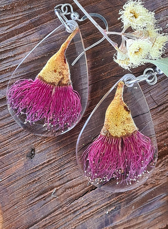 Large Dark Pink Gum Flowers on Clear Sparkle Dangle Earrings