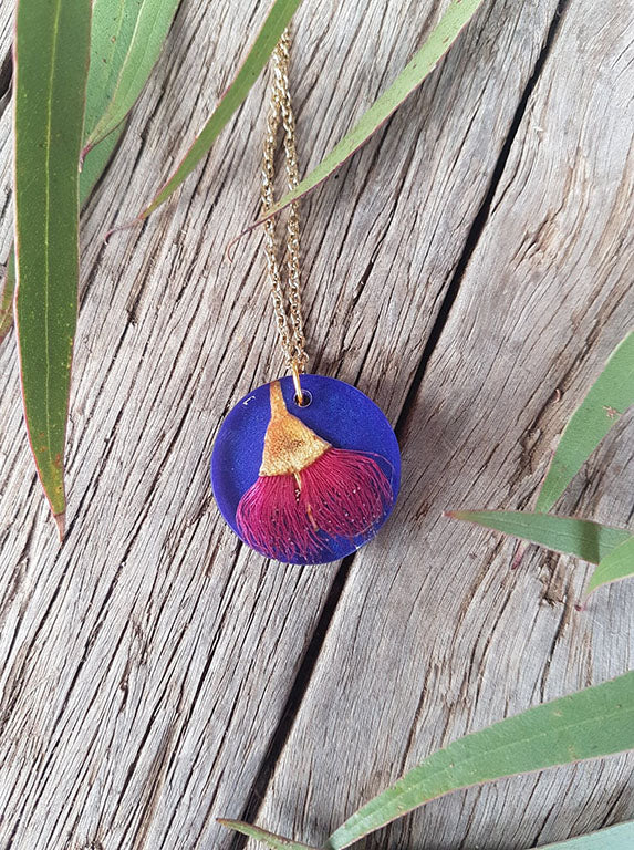 SL Large Round Dark Pink Gum Flower on Indigo Necklace