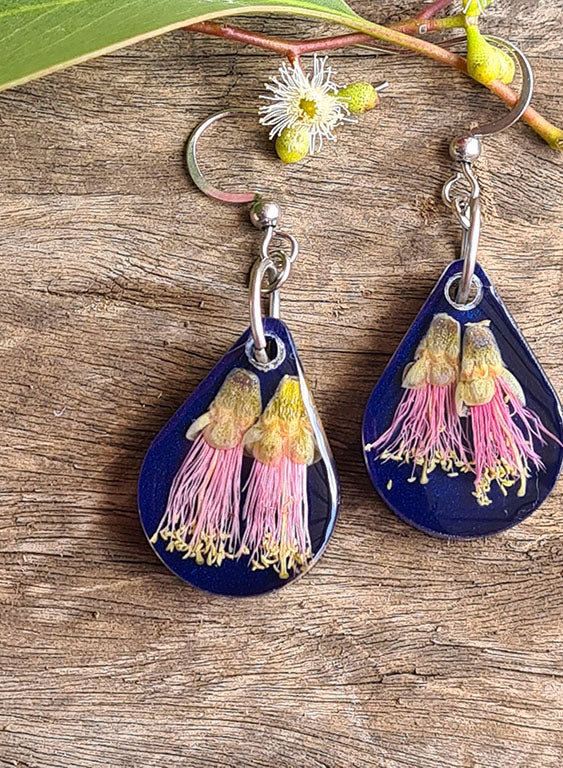Pink Callistemon on Midnight Blue Dangles