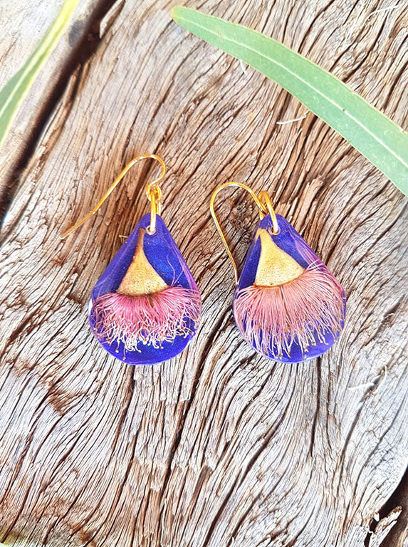 Pink Ironbark Flowers on Indigo Dangle Earrings