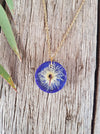 Medium Round Cream Ironbark Flowers on Indigo Necklace