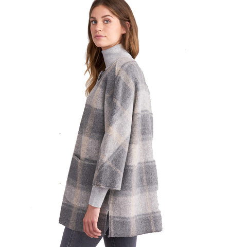 Repeat Plaid Collarless Coat