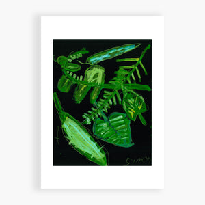 Printed Card - Green Leaves - A set of leaves that look like ferns. What more can I say?
