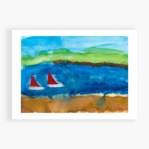 Printed Card - Summer Boats - I did this in Mt Martha in Australia at Xmas. My mom took a photo of the bay where we stayed, and I worked on this for days. I like how it turned out.