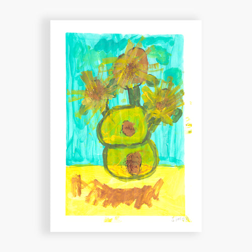 Printed Card - Sunny Flowers - Guess what? We studied Vincent Van Gogh and his sunflowers. This is my take.