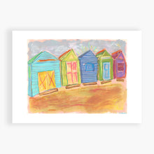 Load image into Gallery viewer, Printed Card - Beach Boxes - This is my friend's boat shed on the beach at Mt Martha in Victoria, Australia. I spend December 2019 there, and gave them this painting for Xmas. (here is a photo of me at the boat shed)