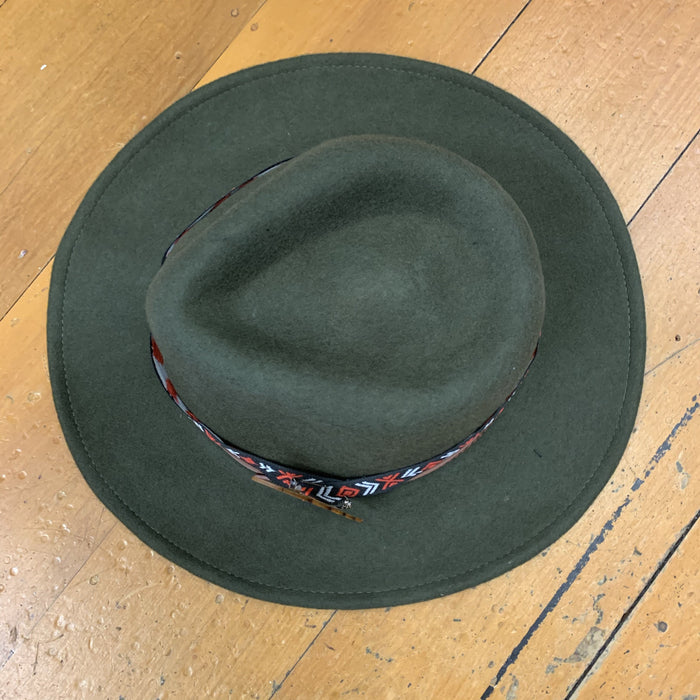 Short Brim Wool Hat - Olive