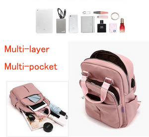 Natural Waterproof Multi-Pocket USB Charging Luggage Backpack