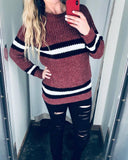 Burgundy Stripe Cable Knit Sweater