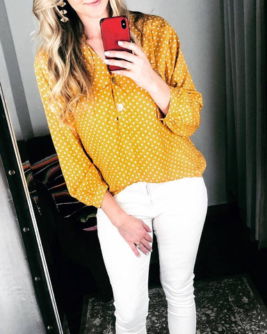 Mustard Polka Dot Puff Sleeve Top