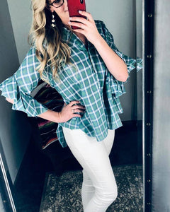 Mint Plaid Ruffle Sleeve Top