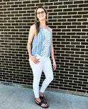 Sleeveless Striped Top w/ Lace Detail