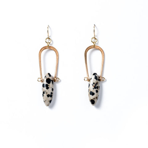 Dalmatian Jasper Amulet Earrings (14kt GF Earhooks)