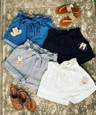 Belted Paper-bag Denim Shorts